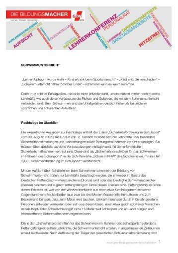 SCHWIMMUNTERRICHT - Die Bildungsmacher