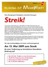 und Erziehungsberufe Am 15. Mai 2009 zum Streik für einen ...