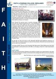 April 24 2013 - Faith Lutheran College