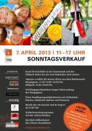 7. April 2013 i 11 – 17 Uhr SonntAgSverkAUf - Gewerbe Olten