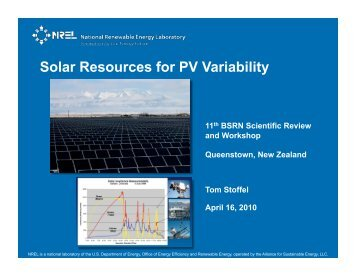 Solar Resources for PV Variability - GEWEX