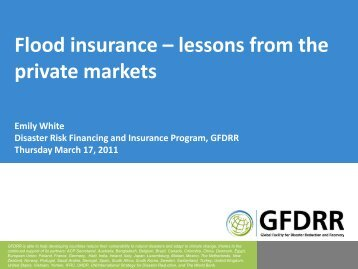 Flood insurance – lessons from the private markets Emily ... - GFDRR