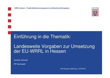 Landesweite Vorgaben zur Umsetzung der EU-WRRL in Hessen