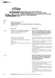 Was wissen Medien? - Gesellschaft für Medienwissenschaft e.V. (GfM)