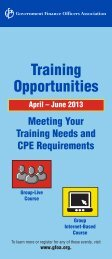 Training Opportunities - Government Finance Officers Association
