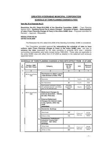 Building Fee details - Greater Hyderabad Municipal Corporation