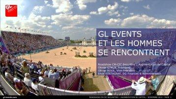 Présentation de l'augmentation de capital - GL events
