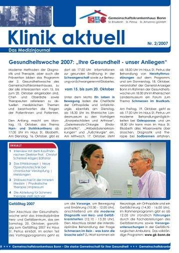 Klinik aktuell Nr. 2/2007 - Gemeinschaftskrankenhaus Bonn gGmbH
