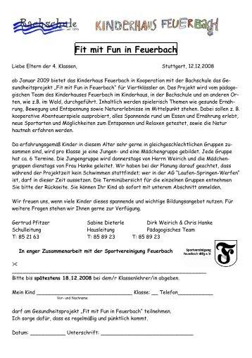 Fit mit Fun in Feuerbach - Bachschule Feuerbach