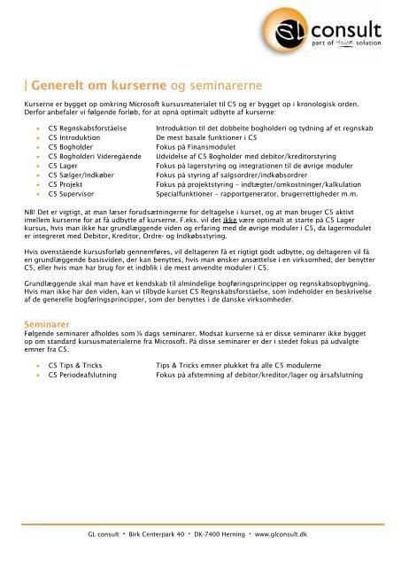 kursusbeskrivelsen - GL consult