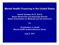Mental Health Financing in the United States - Grantmakers In Health