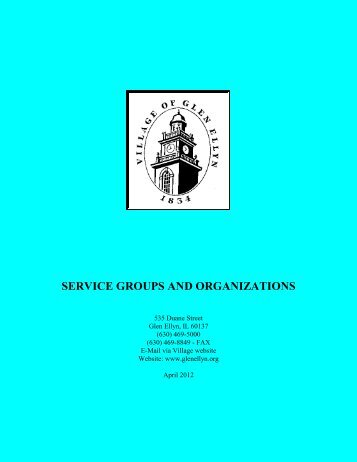 Service Groups and Organizations Directory - The Village of Glen Ellyn