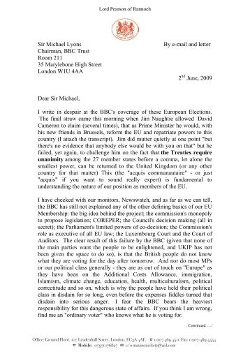 2nd June 2009 - Letter from Lord Pearson to Sir ... - Global Britain