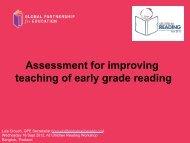 Assessment for improving teaching of early grade reading - Global ...