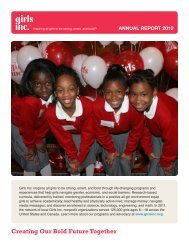 ANNUAL REPORT 2012 Creating Our Bold Future Together - Girls Inc.