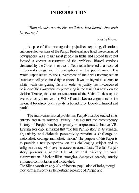 Truth About Punjab- SGPC White Paper - Global Sikh Studies