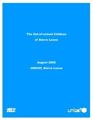 The Out-of-school Children of Sierra Leone August 2008 UNICEF ...