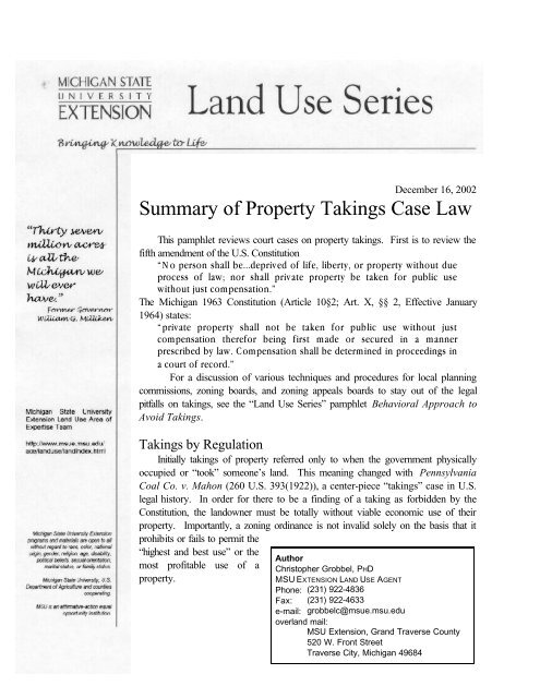 Summary of Property Takings Case Law - Schindler's Land Use
