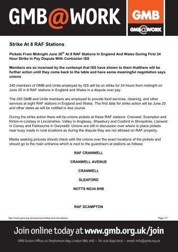 Strike At 8 RAF Stations - GMB
