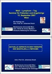 Welt – Lymphom – Tag Seminar für Patienten und Angehörige 15 ...