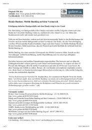 Handy-Banken: Mobile Banking auf dem ... - Global Innovation
