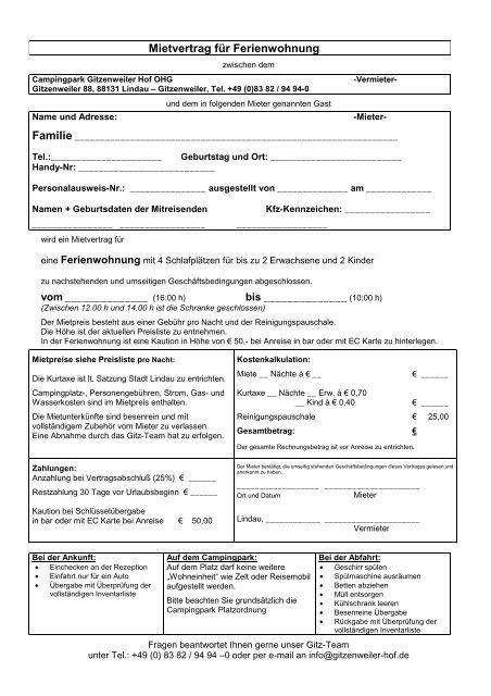 Vorlage Vertrag Ferienwohnung Campingplatz Gitzenweiler Hof