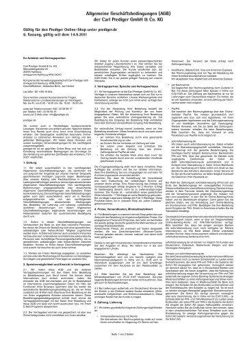 Allgemeine Geschäftsbedingungen (AGB) der  Carl  Prediger GmbH ...