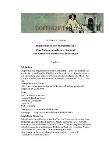 Argumentation und Schreibstrategie. Zum Vulkanismus-Diskurs im ...