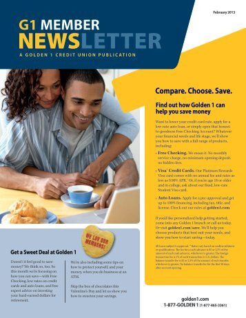 NEWSLETTER - The Golden 1 Credit Union
