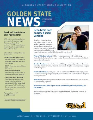 Get a Great Rate on New & Used Vehicles - The Golden 1 Credit ...