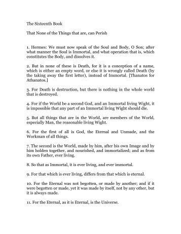 hermes trismegistus, book 16 - Holy Order of the Golden Dawn ...