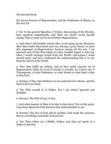 hermes trismegistus, book 7 - Holy Order of the Golden Dawn Canada
