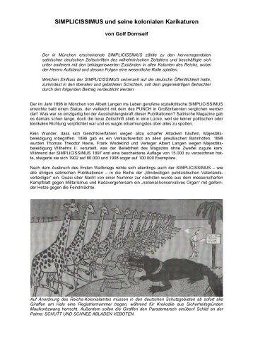 SIMPLICISSIMUS und seine kolonialen Karikaturen - Golf Dornseif