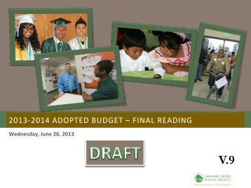 to download OUSD's 2013-2014 proposed budget. - Great Oakland ...