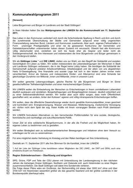 Wahlprogramm Kommunalwahl 2011 - Göttinger Linke