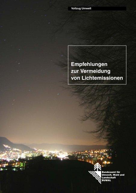 Empfehlungen zur Vermeidung von Lichtemissionen - Kanton Zug