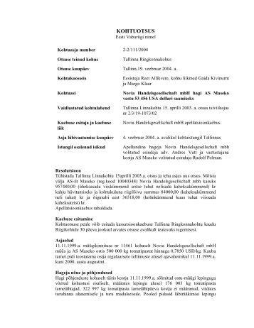 KOHTUOTSUS - Global Sales Law Project