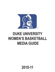 DUKE UNIVERSITY WOMEN'S BASKETBALL MEDIA GUIDE 2010-11