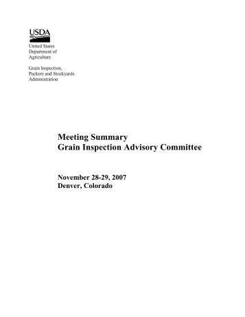 Meeting Summary Grain Inspection Advisory Committee