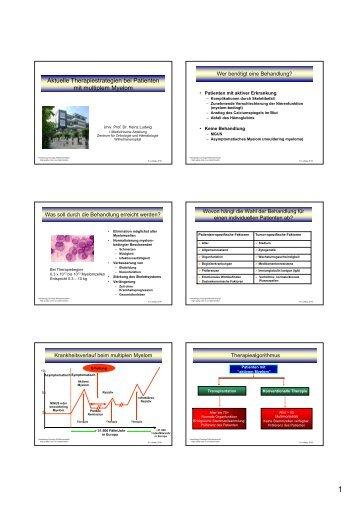 Aktuelle Therapiestrategien bei Patienten mit multiplem Myelom
