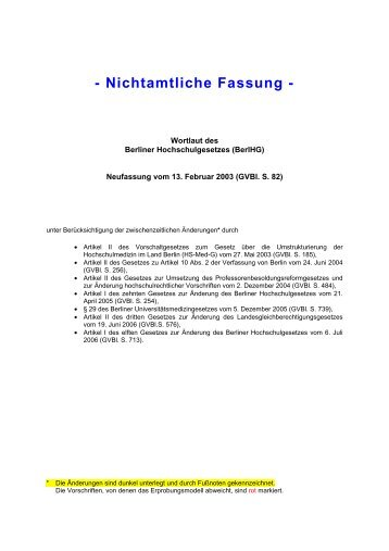 Berliner Hochschulgesetz - BerlHG - Freie Universität Berlin