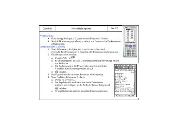 ClassPad Steckbriefaufgaben Nr.1/2 Vorbereitung Arbeit mit dem ...