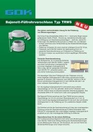 Bajonett-Füllrohrverschluss Typ TRWS - GOK Regler