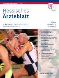 Hessisches Ärzteblatt Oktober 2011 - Landesärztekammer Hessen