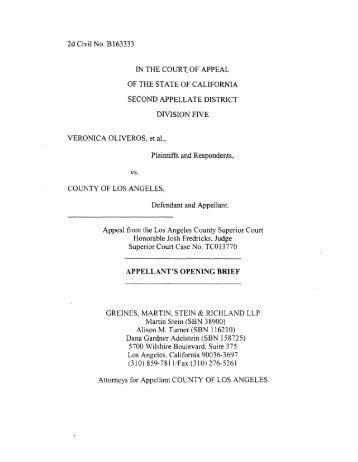 Oliveros v. County of Los Angeles AOB - Greines, Martin, Stein ...