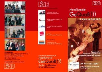 Modellprojekt - Gender Qualifizierung für die Bildungsarbeit