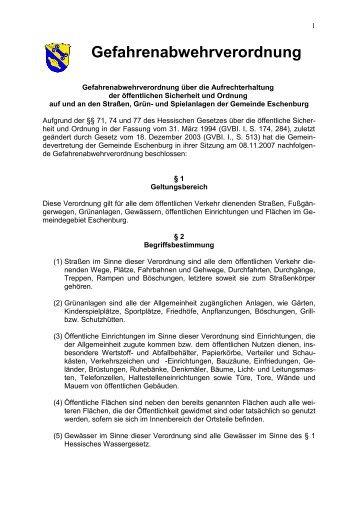 Gefahrenabwehrverordnung (PDF) - Gemeinde Eschenburg