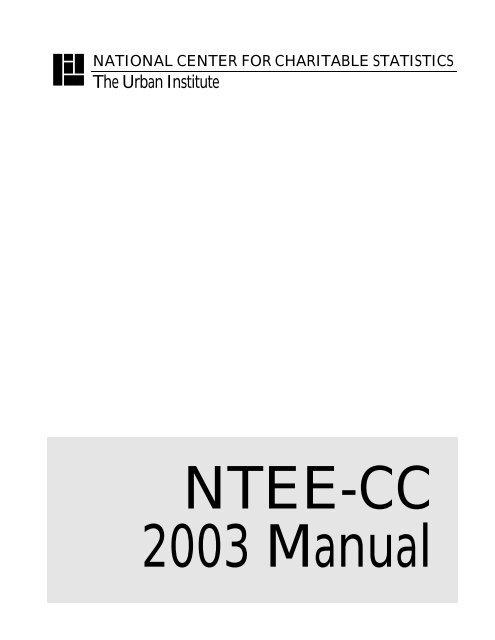 Ntee Manual National Center For Charitable Statistics Urban