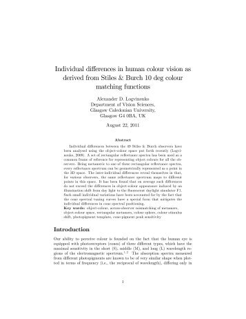 Individual differences in human colour vision as derived from Stiles ...
