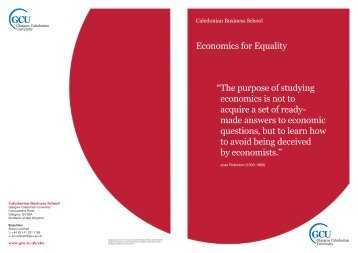 Economics for Equality - Glasgow Caledonian University